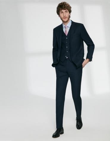 Navy blue fake plain, virgin wool, regular fit suit