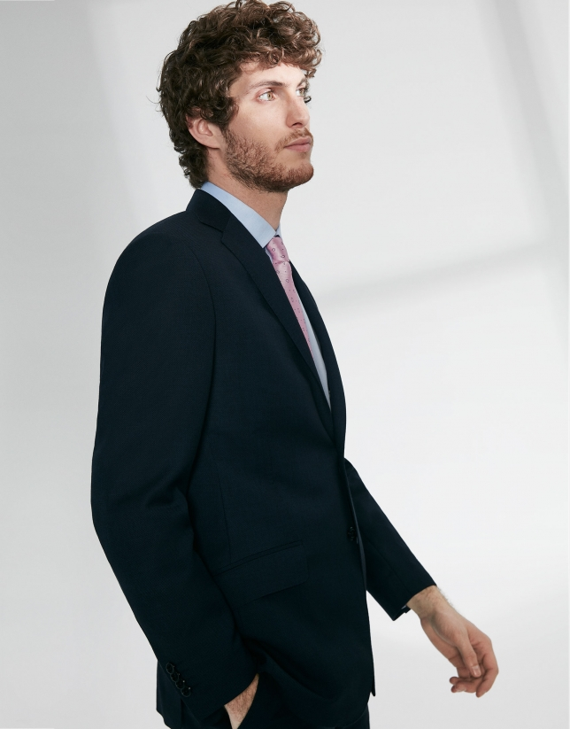 Navy blue fake plain, virgin wool, regular fit suit