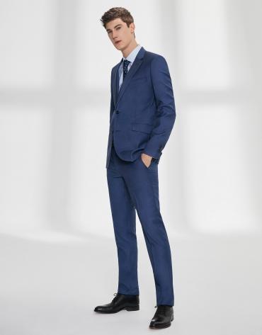 Fake plain, navy blue, virgin wool, slim fit suit