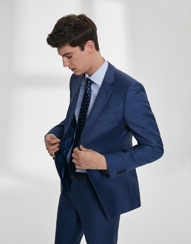 Fake plain, navy blue, virgin wool, slim fit suit