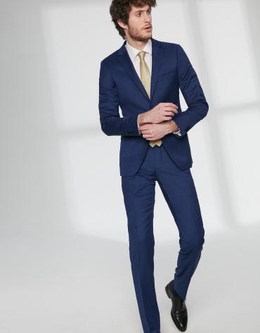Fake plain, dark blue, virgin wool, slim fit suit