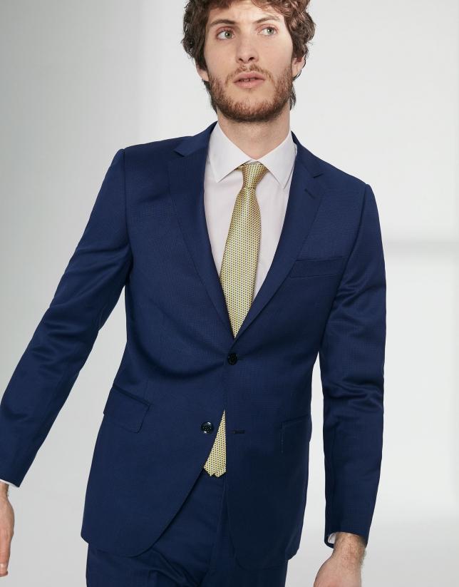 Costume coupe ajustée en laine vierge faux uni bleu encre