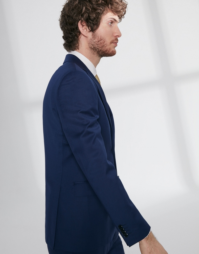 Fake plain, dark blue, virgin wool, slim fit suit