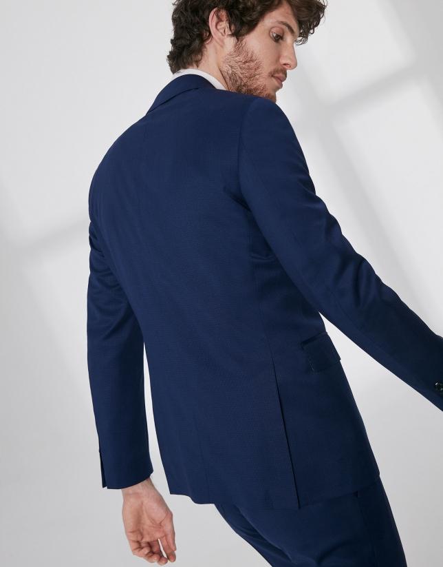 Traje slim fit lana virgen falso liso azul tinta