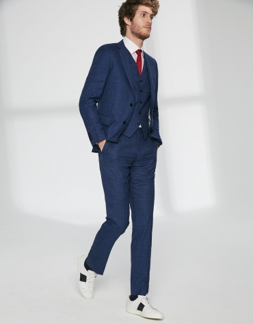 Blue checked, slim fit suit