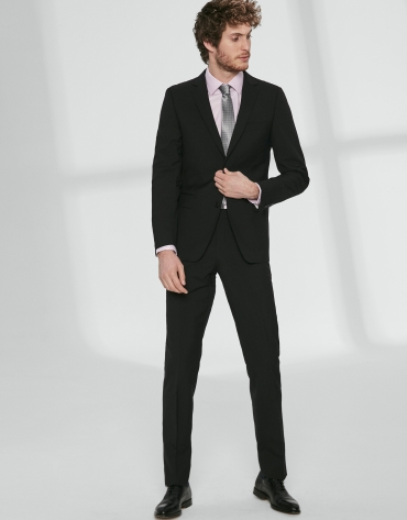 Black wool, slim fit suit