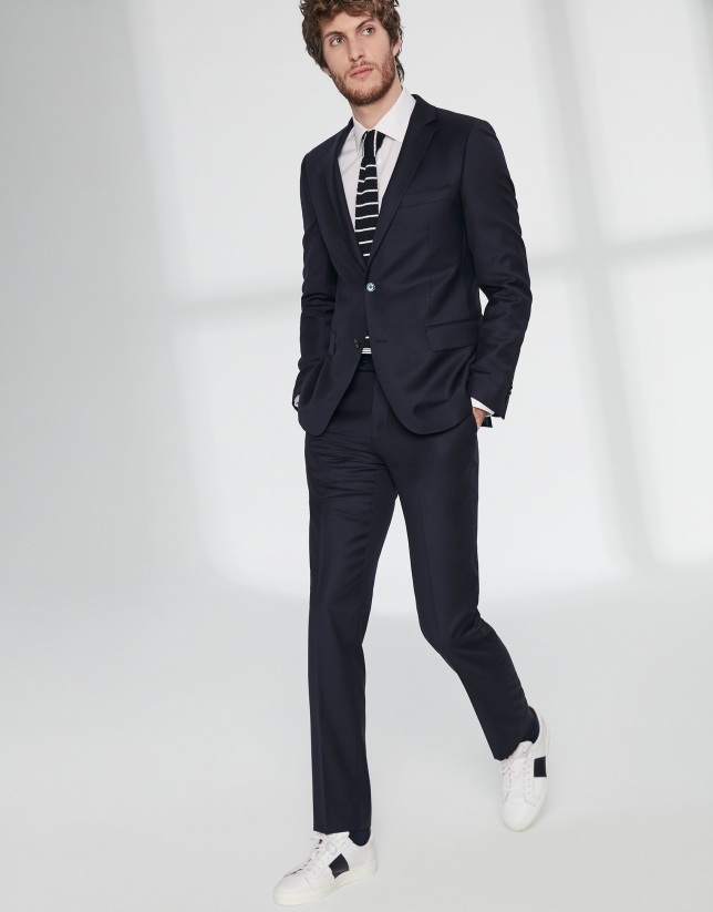Navy blue wool twill, slim fit suit