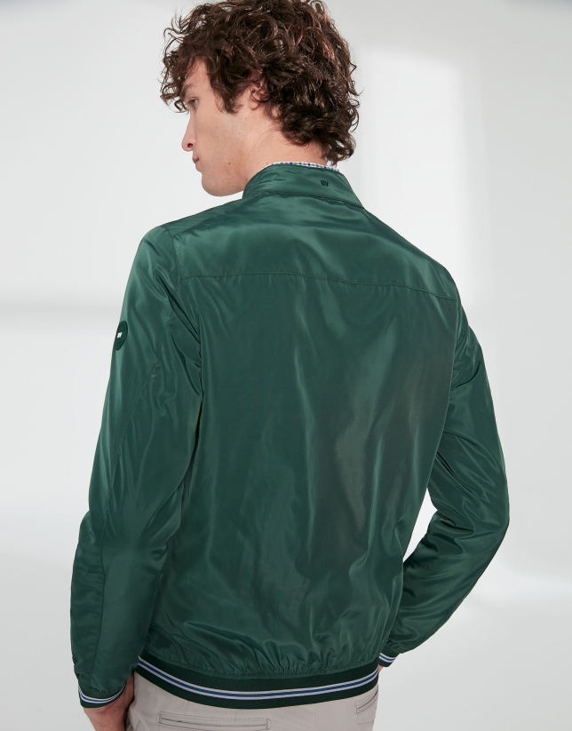 Green tech fabric bomber windbreaker