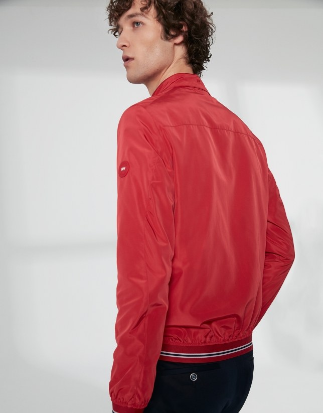 Red tech fabric bomber windbreaker