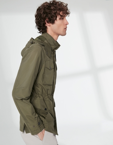 Khaki parka with four pockets