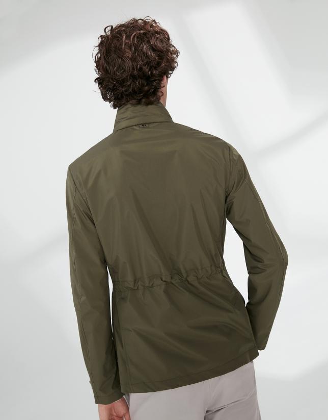 Khaki parka with four pockets