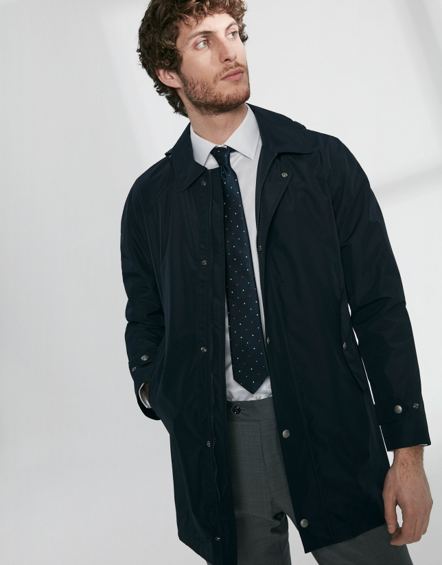 Navy blue tech fabric minimal parka