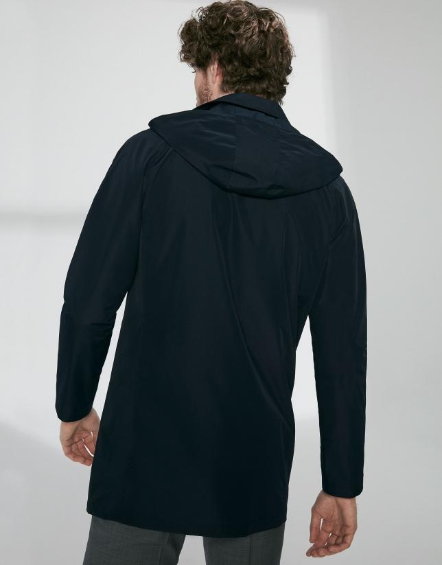 Navy blue tech fabric minimal parka