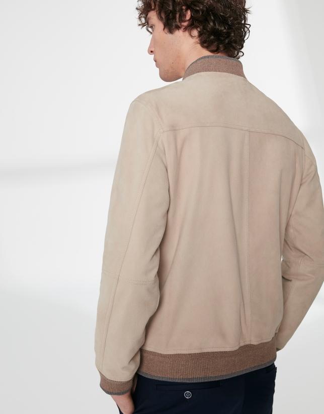 Beige suede bomber jacket