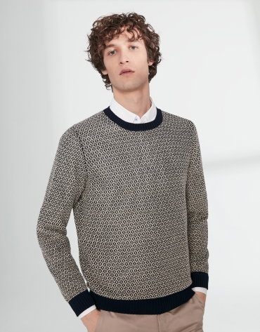 Navy blue and white cotton structured sweater