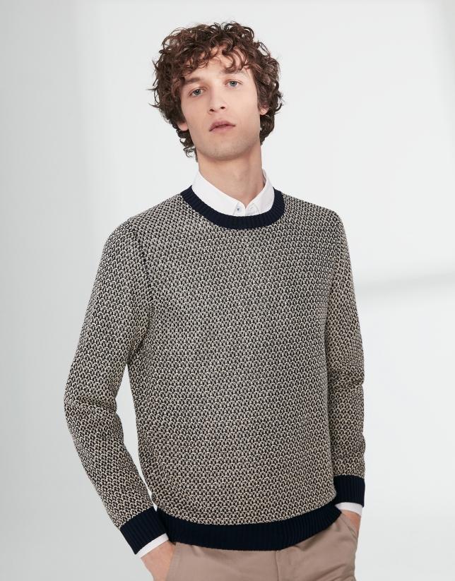 Jersey estructura algodón bicolor marino/blanco