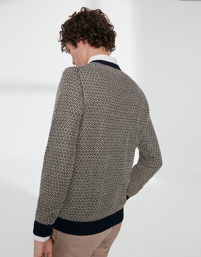 Pull en coton structuré bicolore bleu marine/blanc