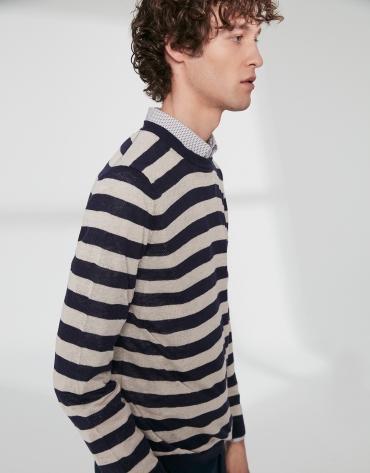 Jersey lino rayas crudo/azul