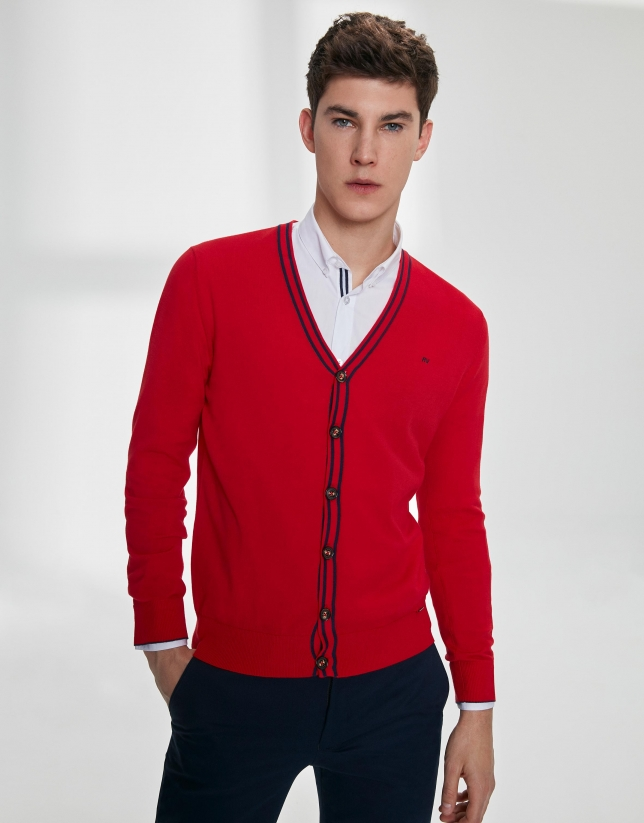 Red cotton cardigan with navy blue trim