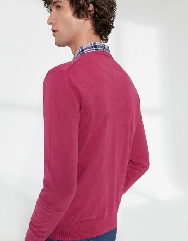 Jersey cuello pico algodón rosa oscuro