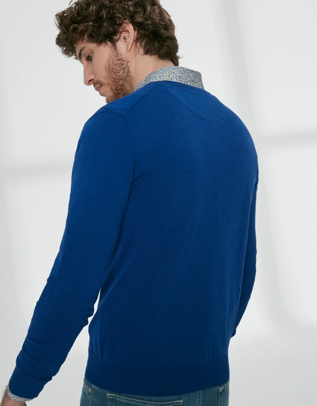 Deep blue cotton, V-neck sweater