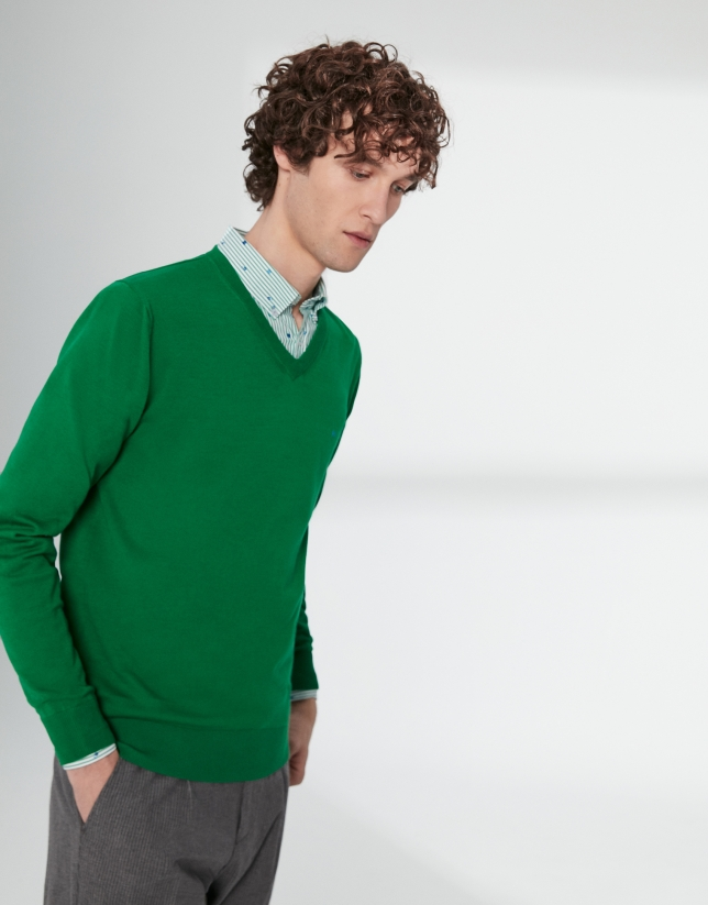 Green cotton, V-neck sweater