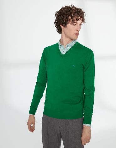 Pull à col V en coton vert