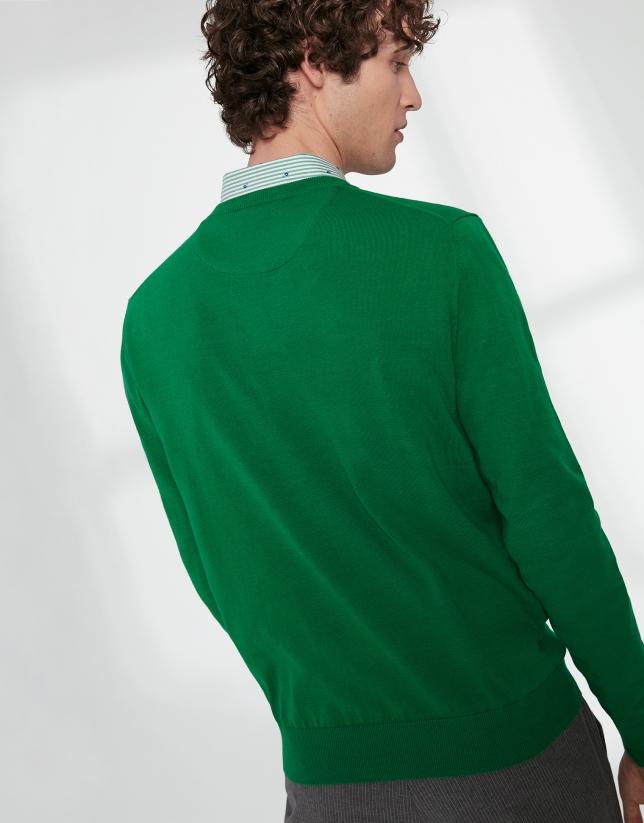 Jersey cuello pico algodón verde