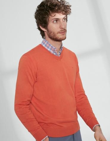 Pull à col V en coton orange