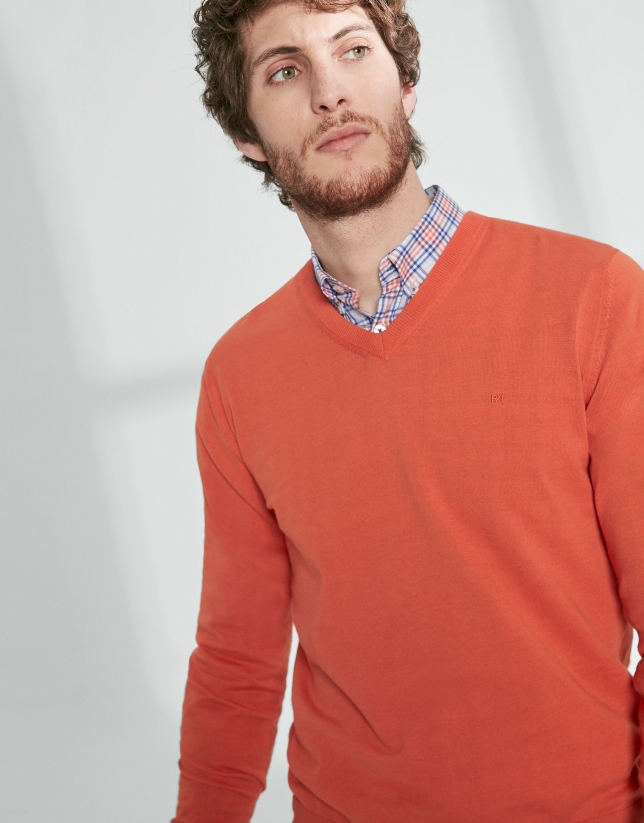 Orange cotton, V-neck sweater