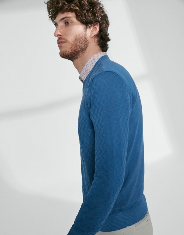 Blue cotton herringbone structured sweater