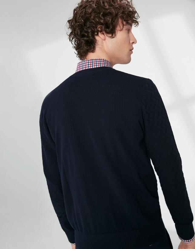 Pull bleu marine en coton structuré à chevrons