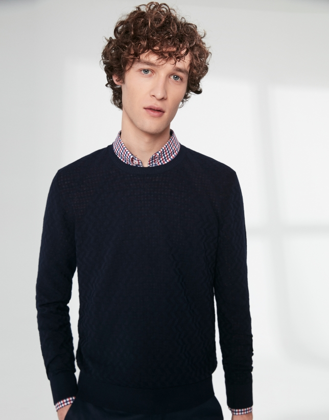 Navy blue cotton herringbone structured sweater