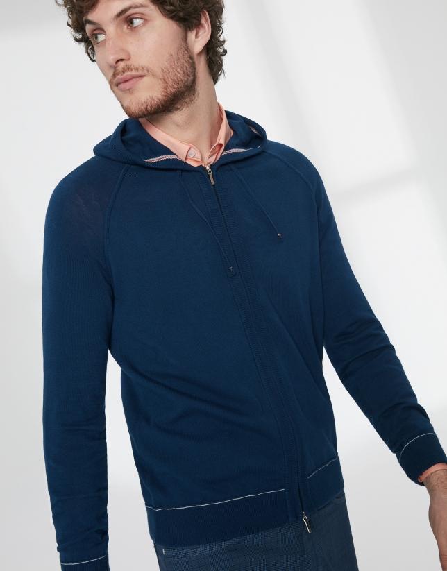 Dark blue cotton hooded jacket