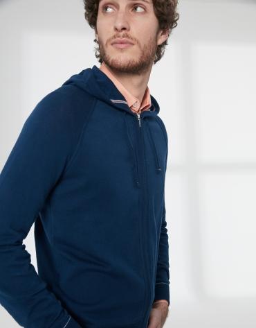 Gilet à capuche en coton bleu foncé
