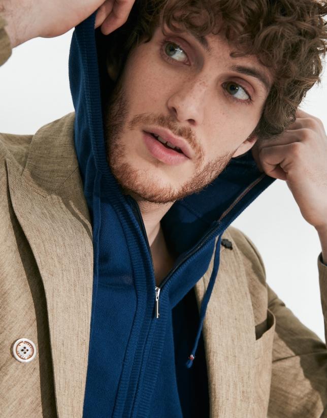 Chaqueta con capucha algodón azul oscuro