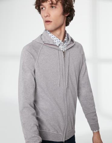 Chaqueta con capucha algodón gris