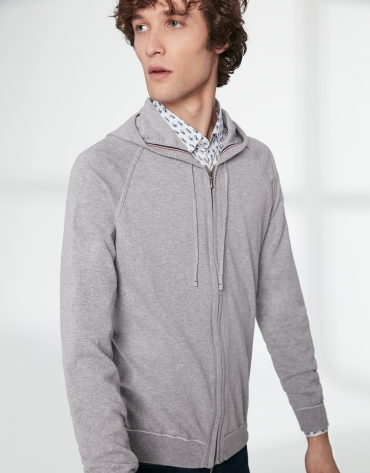 Gray cotton hooded jacket