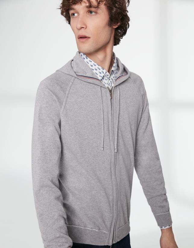 Gilet à capuche en coton gris