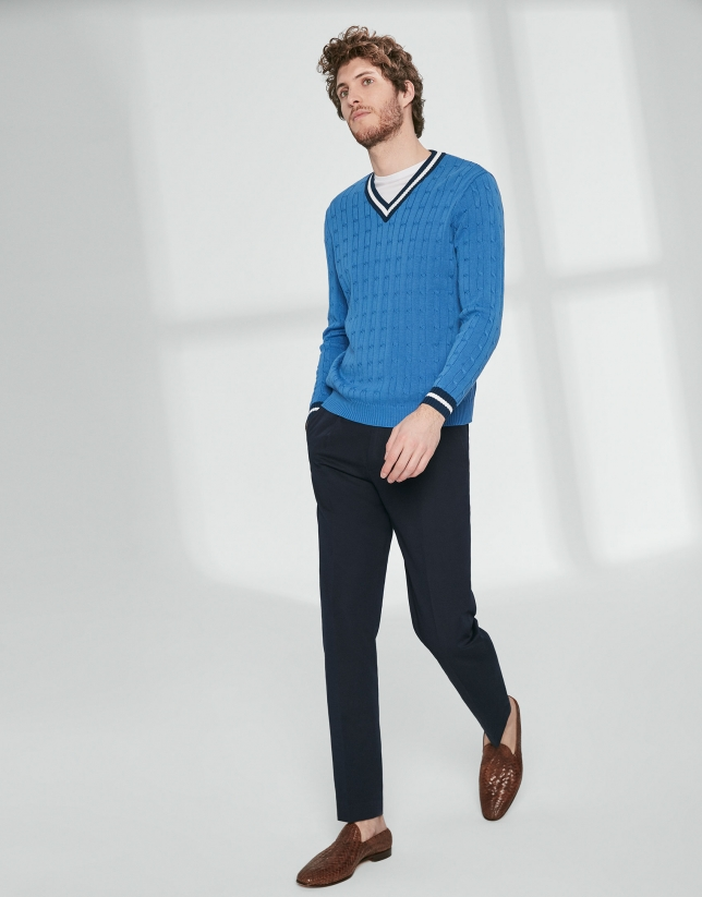 Blue V neck, cable stitch sweater