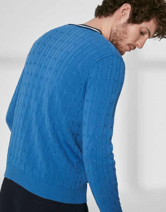 Jersey cuello pico ochos azulón