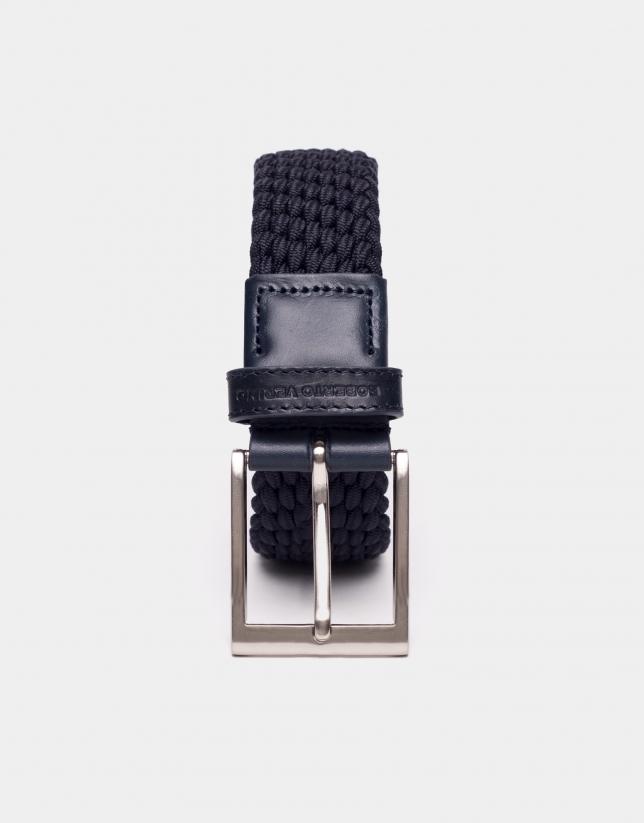 Cinturón cordón elástico trenzado azul marino