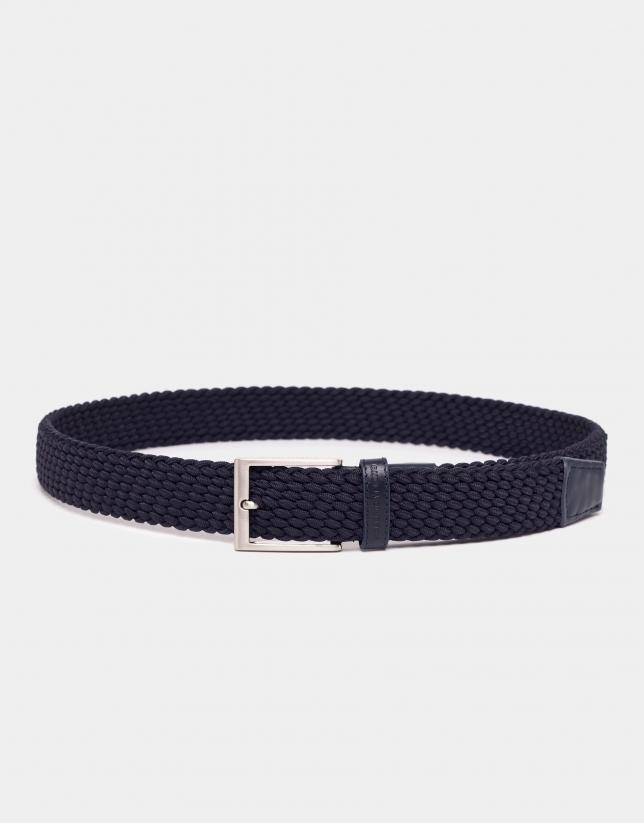 Cinturón elástico trenzado azul marino