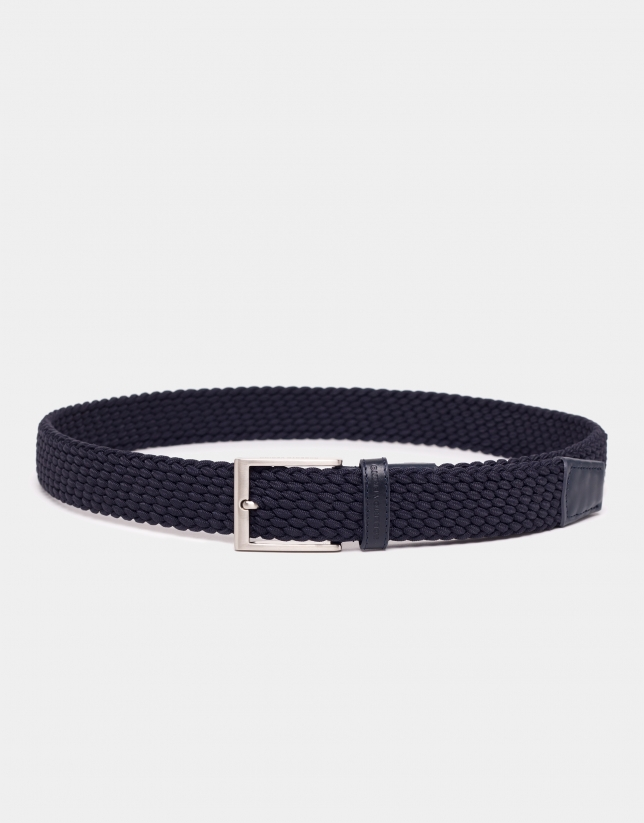 Navy blue braided elastic belt