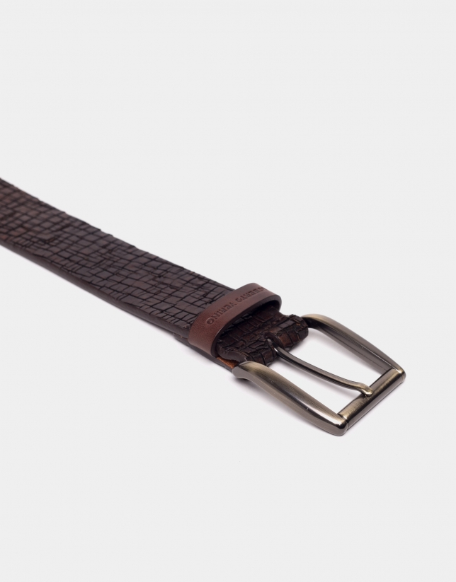 Brown embossed belt