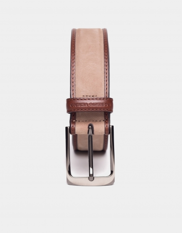 Combination sandy suede and brandy napa belt