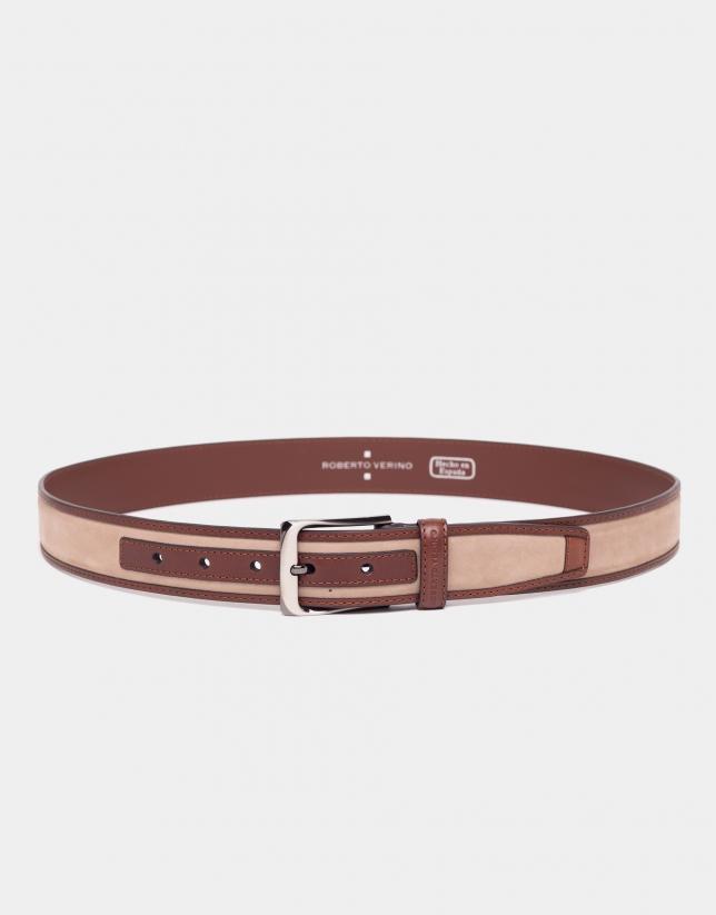 Cinturón combinado ante arena y napa coñac