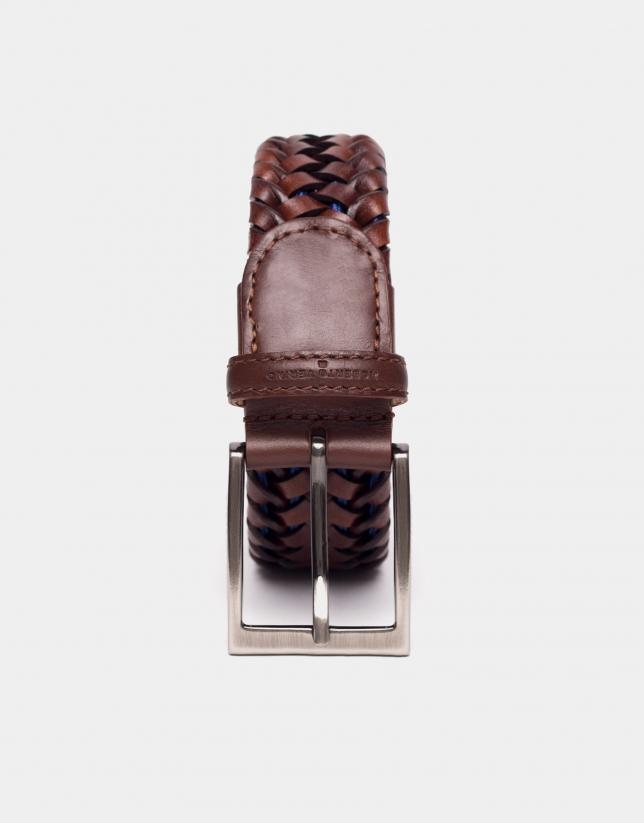 Ceinture élastique en cuir cognac