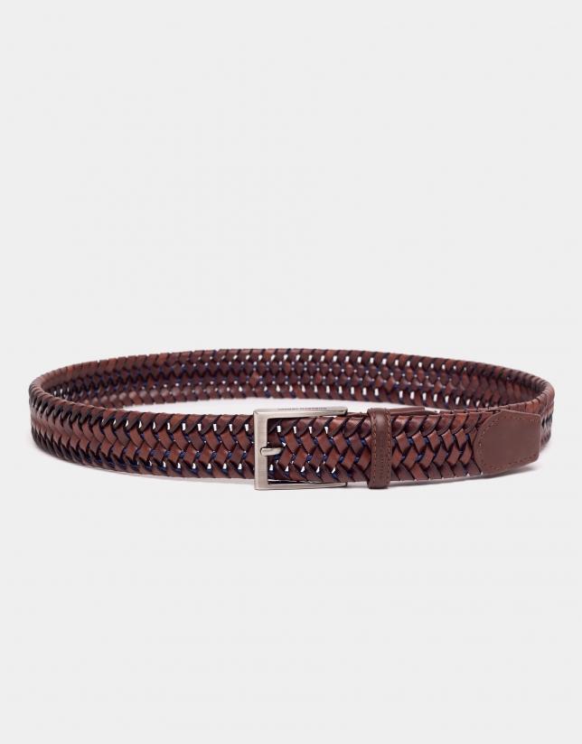 Cinturón elástico piel coñac