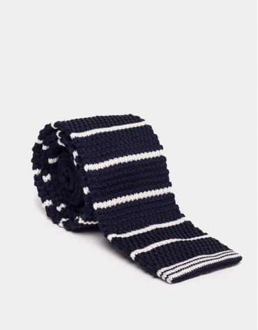 Cravate droite en tricot de coton piqué bleu marine